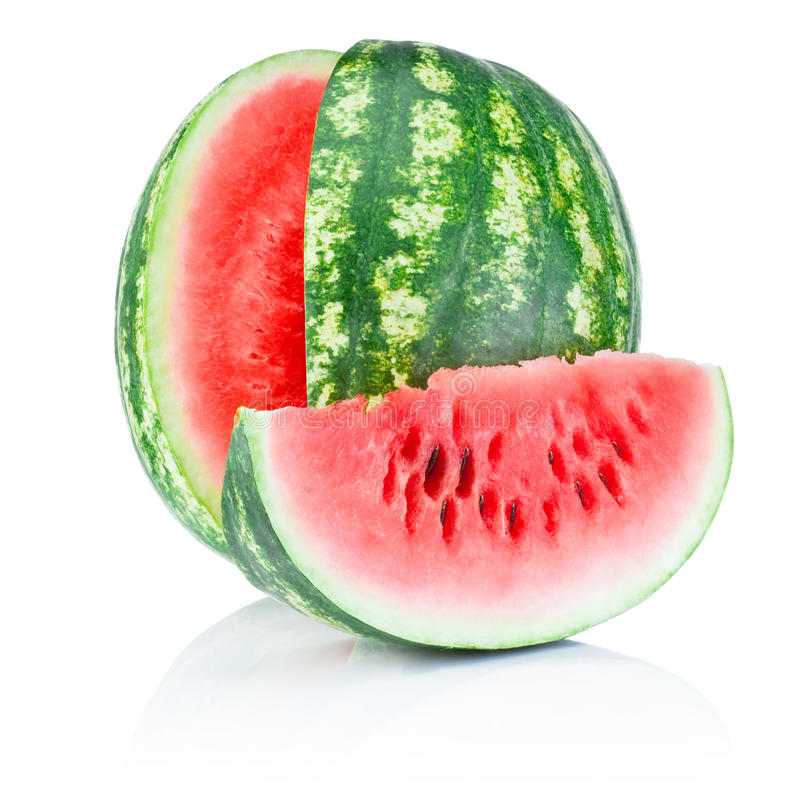 Watermelon and Slice isolated on white background royalty free stock images