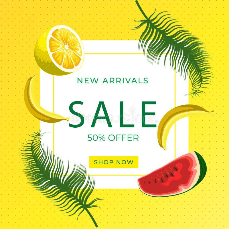 Watermelon slice, lemon slice, banana fruits on yellow dotted background. Sale banner template design. Summer 50% Big sale special vector illustration
