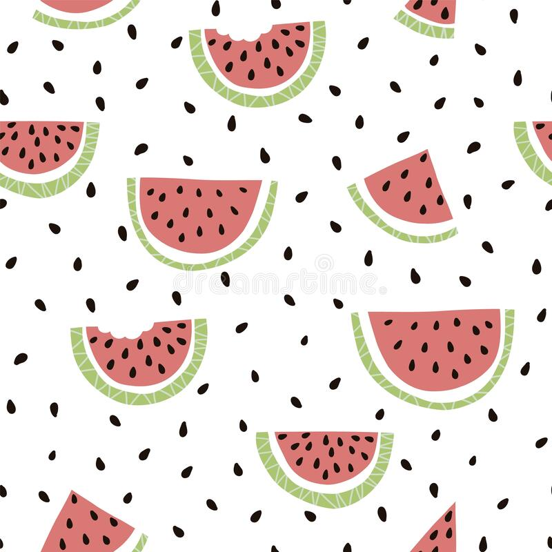 Free Watermelon Slice Seamless Pattern. Summer Fruit Print For Wallpaper Or Fabric Textile Desing. Childish Tropical Repeat Stock Photo - 217797950