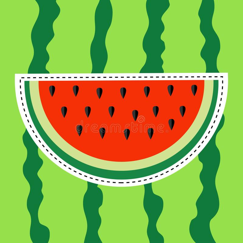 Watermelon slice sticker icon. Dash line. Cut half seeds. Red fruit berry flesh. Natural healthy food. Sweet water melon. Tropical royalty free illustration