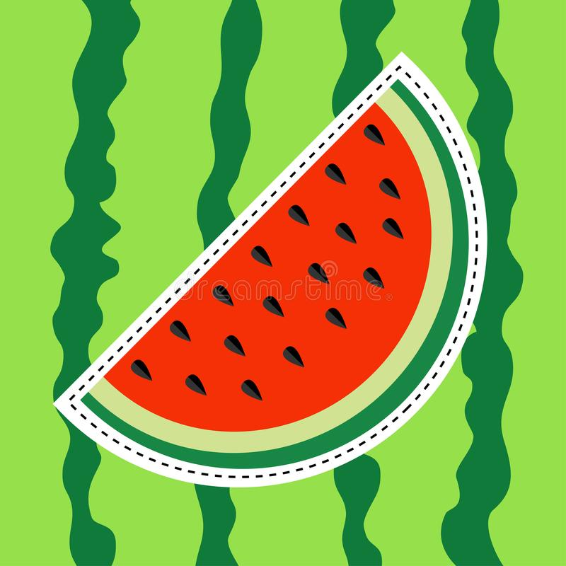 Watermelon slice sticker icon. Dash line. Cut half seeds. Sweet water melon. Red fruit berry flesh. Natural healthy food. Tropical. Fruits. Green striped peel royalty free illustration