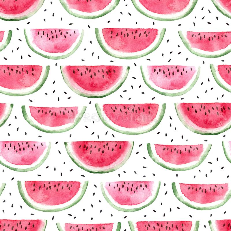 Free Watermelon Slices And Seeds Seamless Pattern Stock Image - 113677171