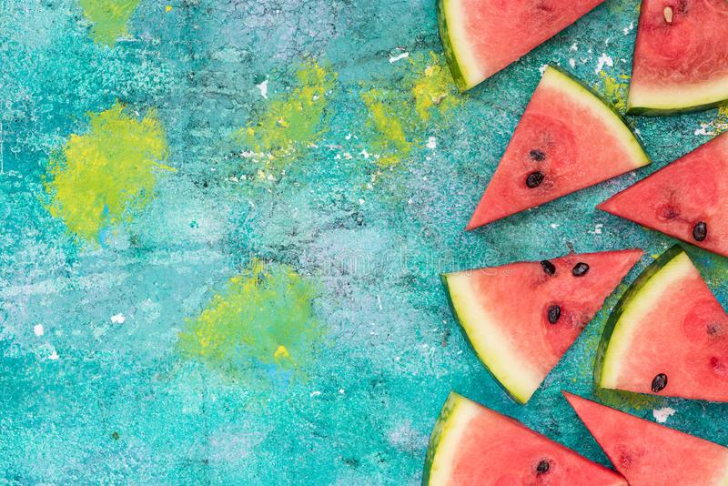Watermelon slices, border background royalty free stock images