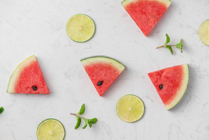 Watermelon. Slices of fresh watermelon on white background.  royalty free stock images
