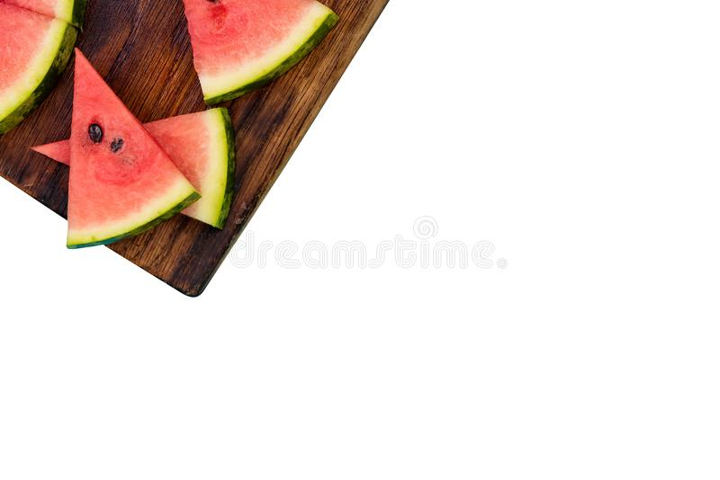 Watermelon slices isolated on white stock photos