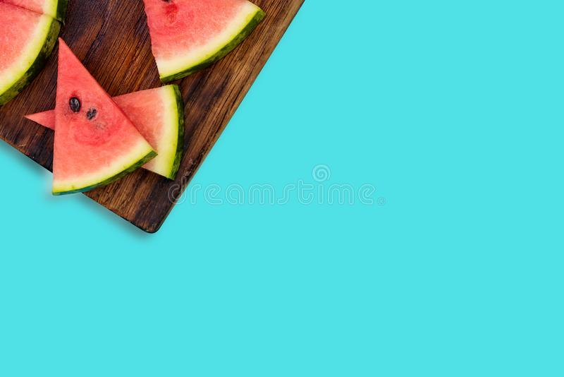 Watermelon slices, pastel background stock image
