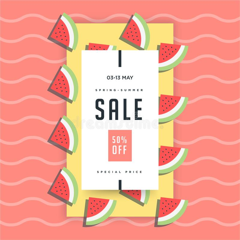Watermelon slices with red minimalistic background. 50% Summer Sale banner template design. Big sale special offer. Special offer vector illustration