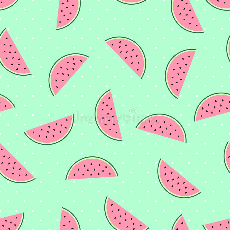 Watermelon slices seamless pattern on mint green polka dots background. Pink watermelon slices seamless pattern on mint green polka dots background. Cute fruit royalty free illustration