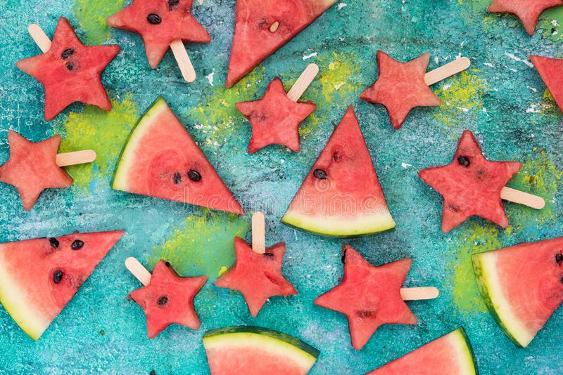 Watermelon slices and star shapes popsicles royalty free stock photos