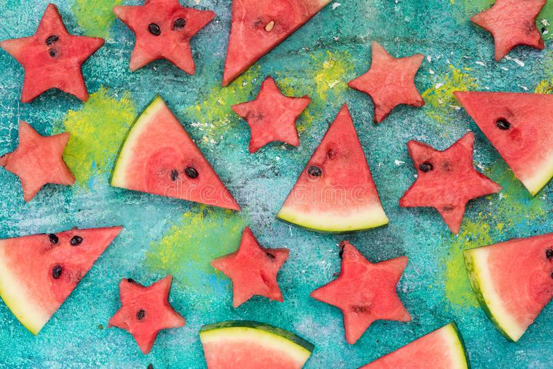 Watermelon slices and stars, garden party food royalty free stock images