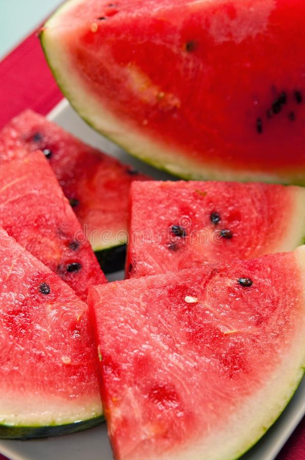 Watermelon slices royalty free stock photos