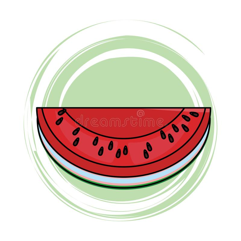 Watermelon slide icon. Isolated colorful round icon vector illustration graphic design vector illustration