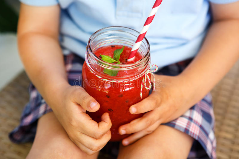 Watermelon smoothie as healthy summer drink. stock photos
