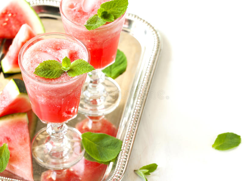 Watermelon smoothies. In glass cup royalty free stock image