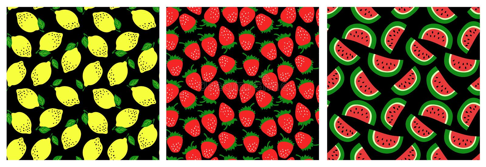 Watermelon, strawberry, lemon. Fruit seamless pattern set. Fashion clothing design. Food print for dress, skirt, linens or curtain stock illustration
