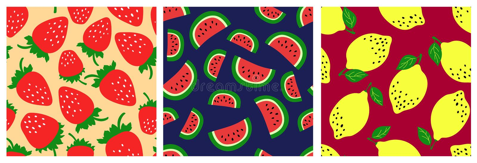 Watermelon, strawberry, lemon. Fruit seamless pattern set. Fashion clothing design. Food print for dress, skirt, linens or curtain vector illustration
