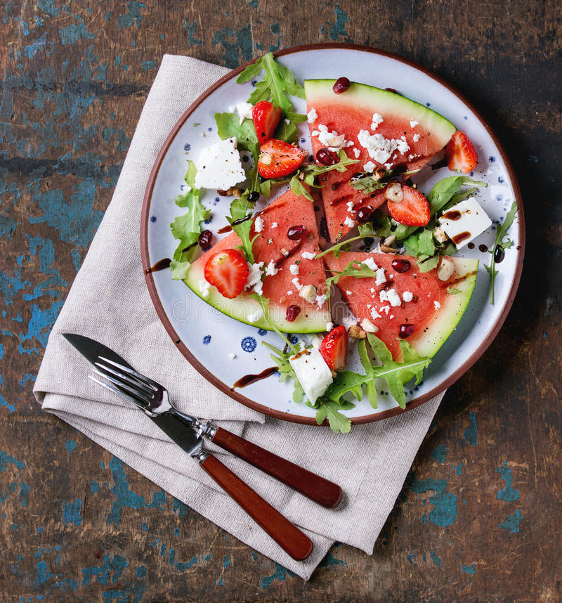 Watermelon and strawberry salad royalty free stock photos