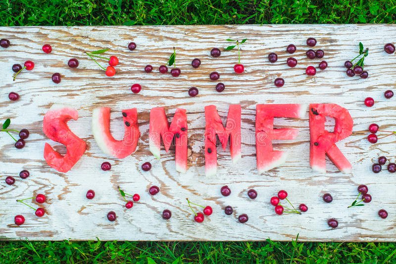 Watermelon summer letters royalty free stock photos