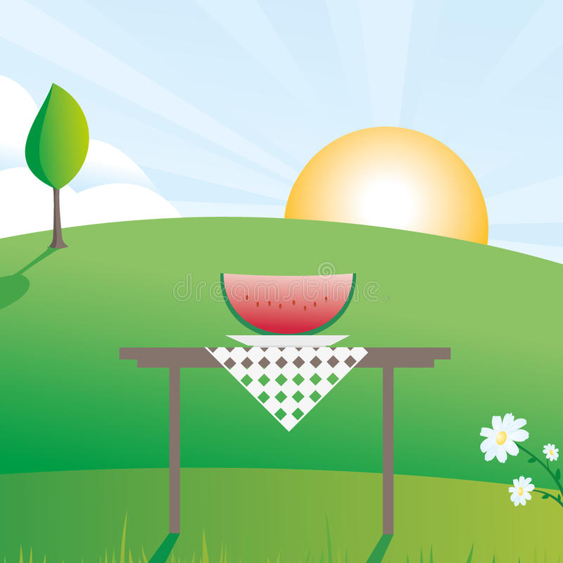 Download Watermelon summer scene stock illustration. Image of ripe - 17600202