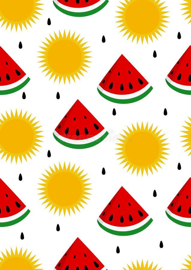 watermelon and sun seamless background stock vector illustration rh dreamstime com White Sun Vector Sun Rays Vector