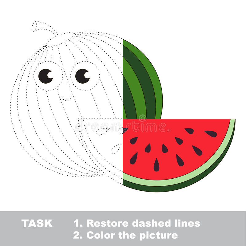 Watermelon to be colored. Vector trace game. Watermelon in vector to be traced. Restore dashed line and color the picture. Visual game for children. Easy vector illustration