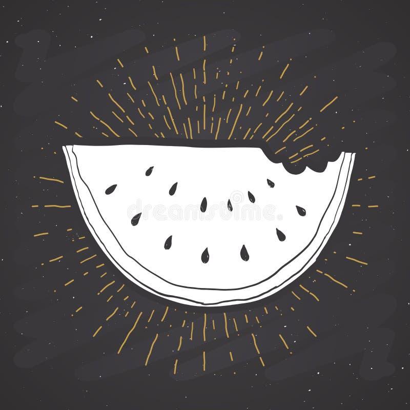 Watermelon vintage label, grunge textured retro badge, typography design vector illustration on chalkboard background.  stock illustration