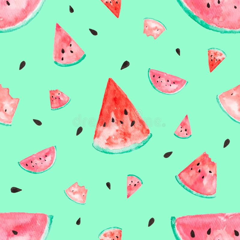 Watermelon water color painted. Seamless tropical fruit on green pastel isolate background royalty free stock photo
