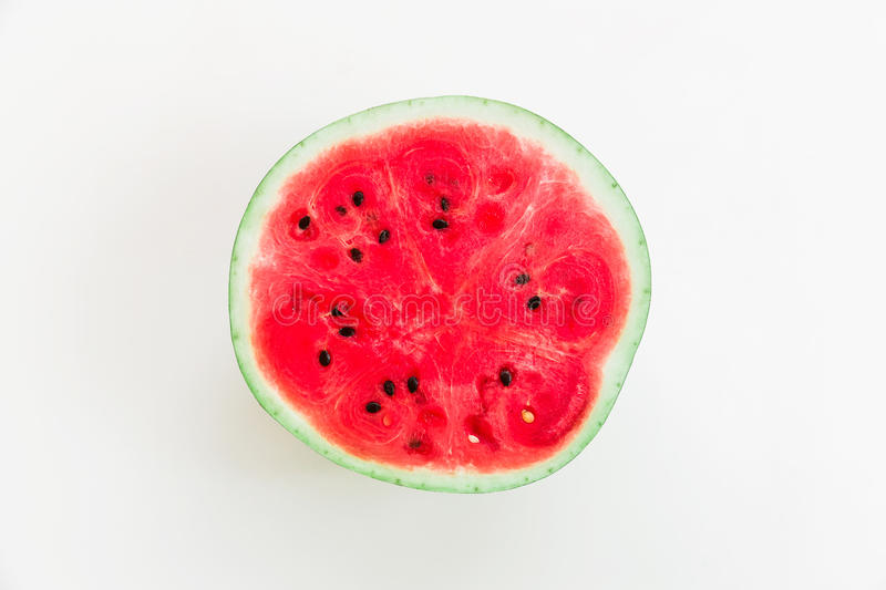 Watermelon on white background. Flat lay. Top view. Summer fruit royalty free stock image