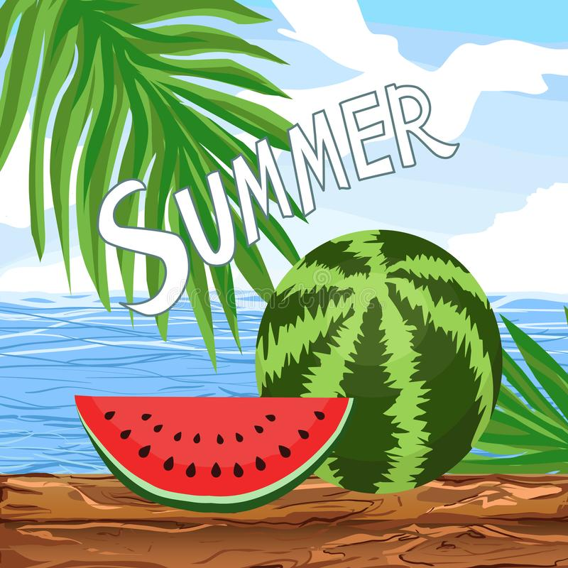 Watermelon whole, a Flat ripe juicy slice piece and seeds isolated. National Watermelon Day - vector summer illustration. Sunny day on beach near sea or ocean royalty free illustration