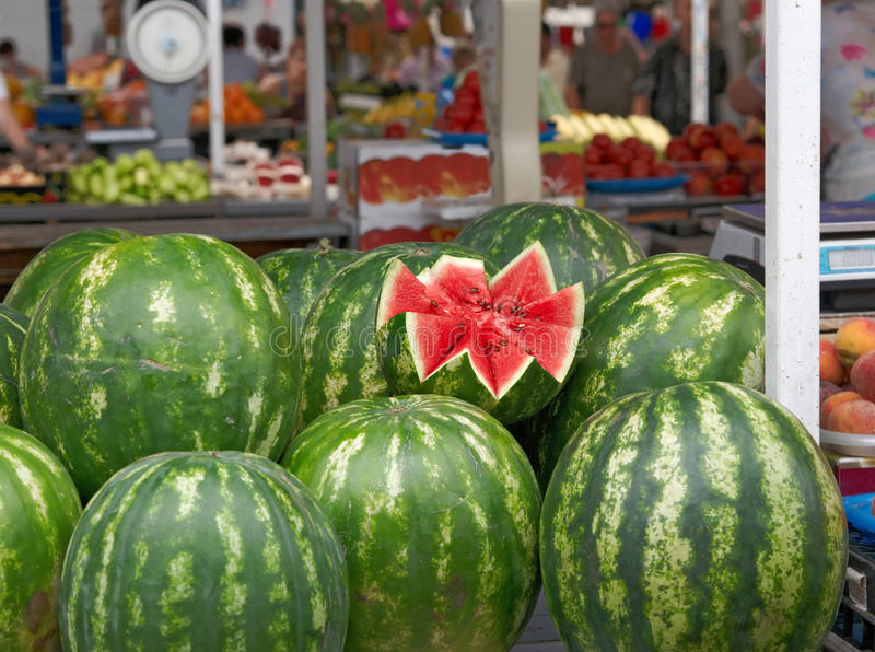 Watermelons at Market stock image