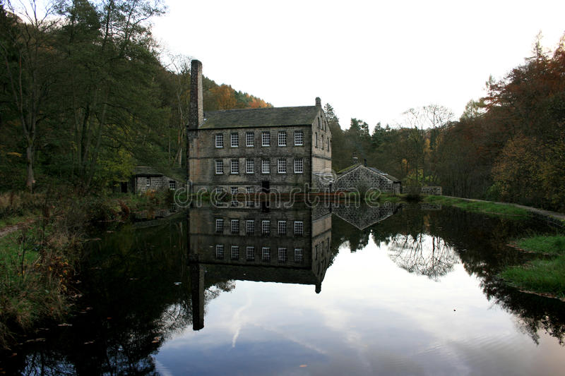 Watermill. And mill pond at Hardcastle craggs royalty free stock photos
