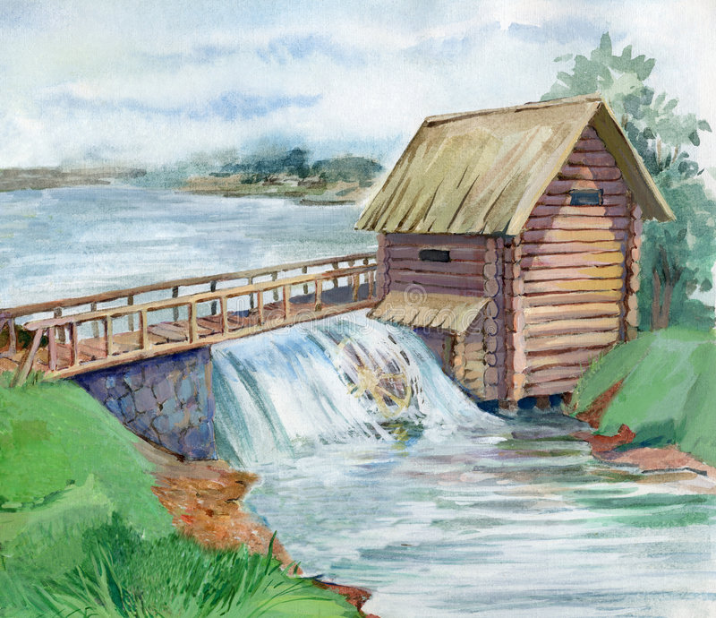 watermill 皇族释放例证