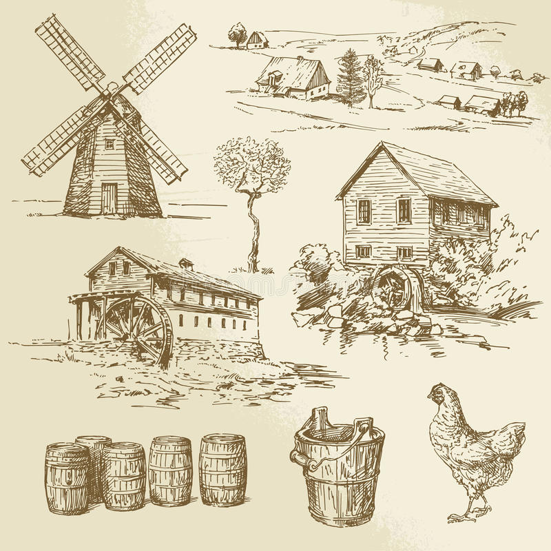 Free Watermill And Windmill Royalty Free Stock Photos - 42075708