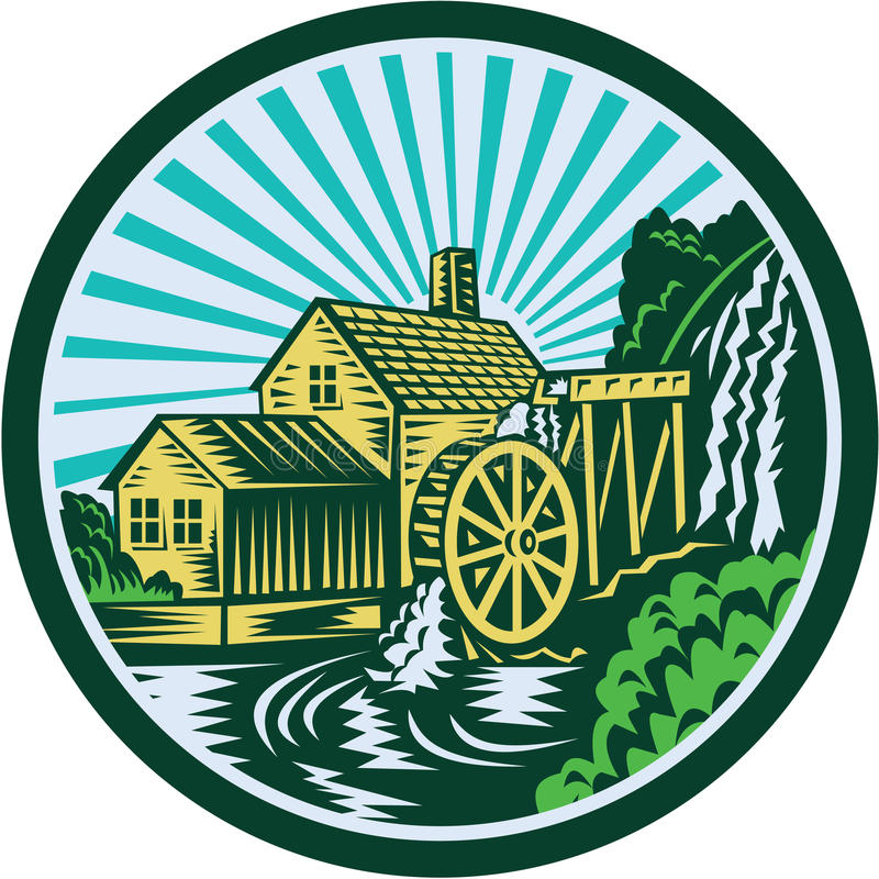 Watermill House Circle Retro. Illustration of a house with watermill falls river set inside circle with sunburst in the background done in retro woodcut style