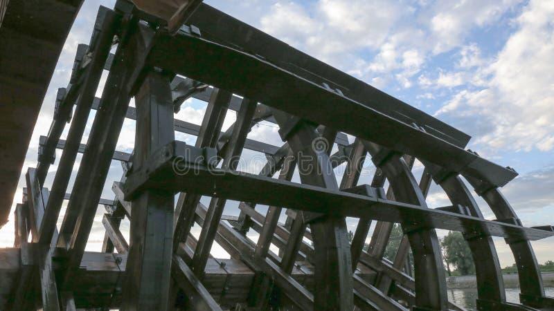 Watermill Outdoor, Great Wheel, Osijek Croatia. River Drau stock images