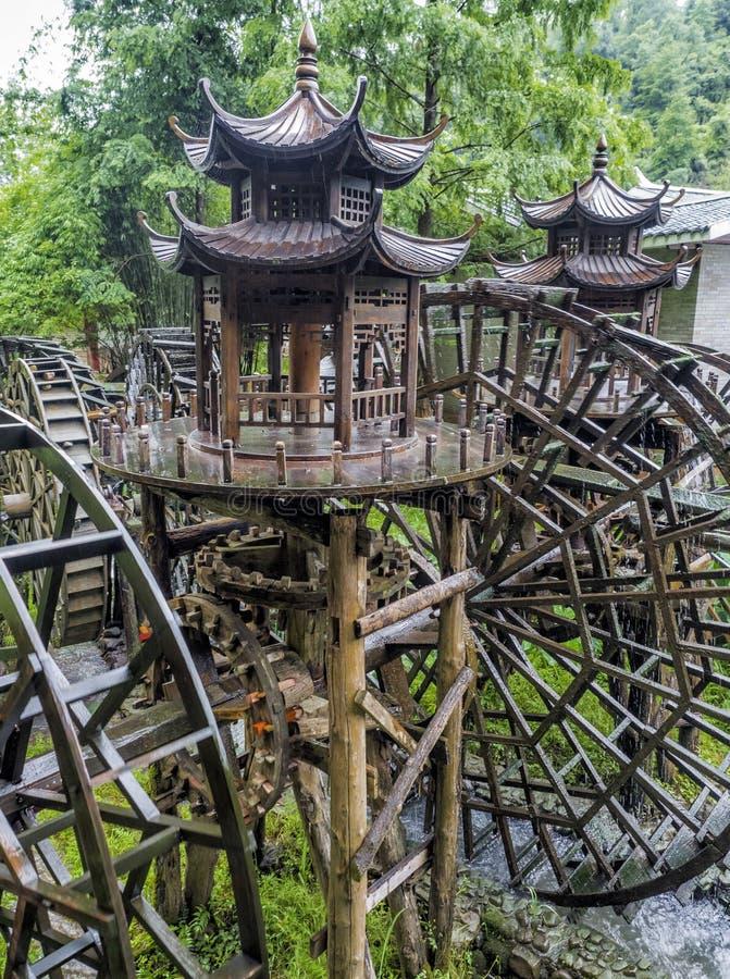 Watermill przy ogródem Żółta smok jama: Cud światowy ` s zawala się przy Zhangjiajie, prowincja hunan, Chiny obrazy royalty free