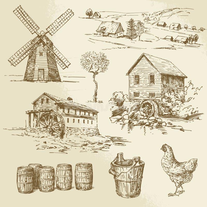 Watermill und Windmühle lizenzfreie abbildung