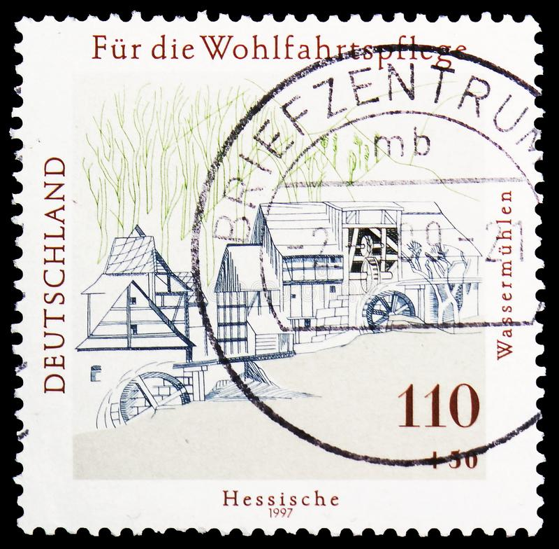 Watermills σε Hesse, ευημερία: Νερό και ανεμόμυλοι serie, circa 1997 στοκ φωτογραφία με δικαίωμα ελεύθερης χρήσης