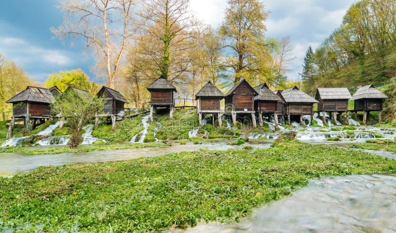 Watermills w mieście Jajce obrazy stock