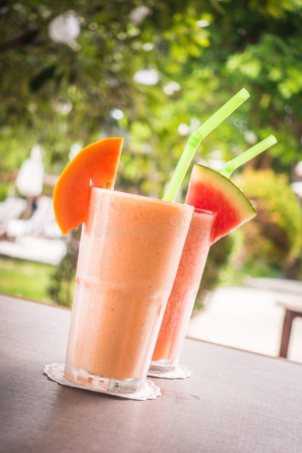 Watermon melonowa i owoc soku smoothies w szkle fotografia royalty free