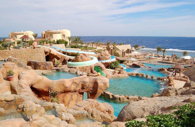 Waterpark à la plage de l'hôtel populaire image libre de droits