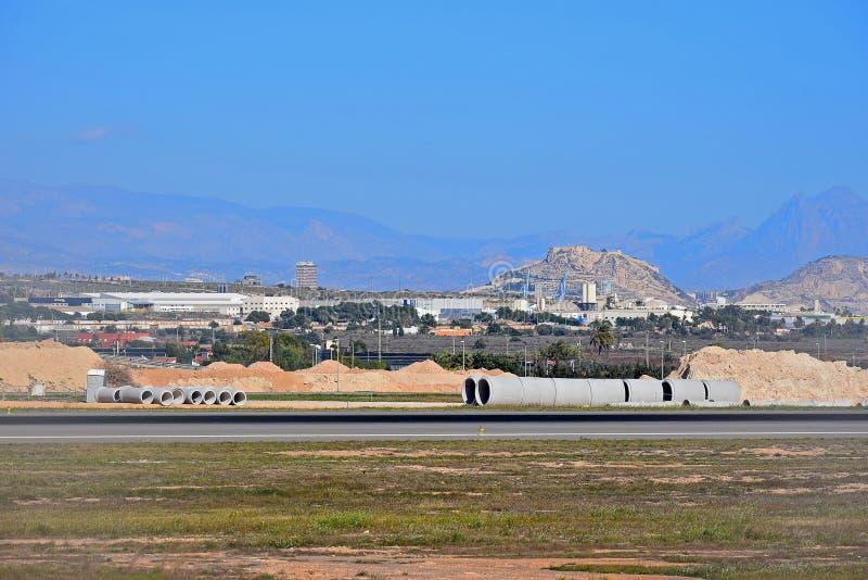 Waterpijpen voor het Drainagewerk bij de Luchthaven van Alicante royalty-vrije stock afbeeldingen