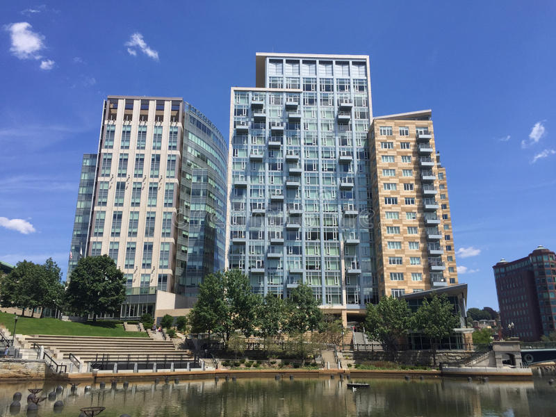 Waterplace Apartments, Providence, RI. View of the luxury apartments at Waterplace park, over looking the river in downtown, Providence, RI royalty free stock photo