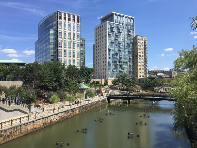 Waterplace Apartments, Providence, RI. View of the luxury apartments at Waterplace park, over looking the river in downtown, Providence, RI stock photos