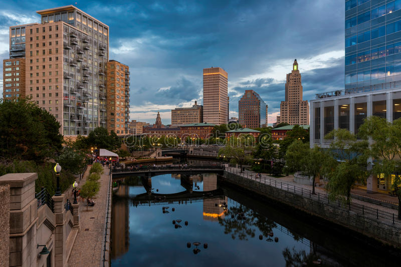 Waterplace Park in Providence. Waterplace Park, the Woonasquatucket River and downtown Providence from the Martin Luther, Jr. Bridge at Francis Street in royalty free stock image