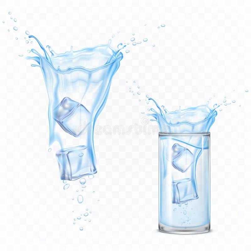 Waterplons met ijsblokjes en glasreeks, motie royalty-vrije illustratie