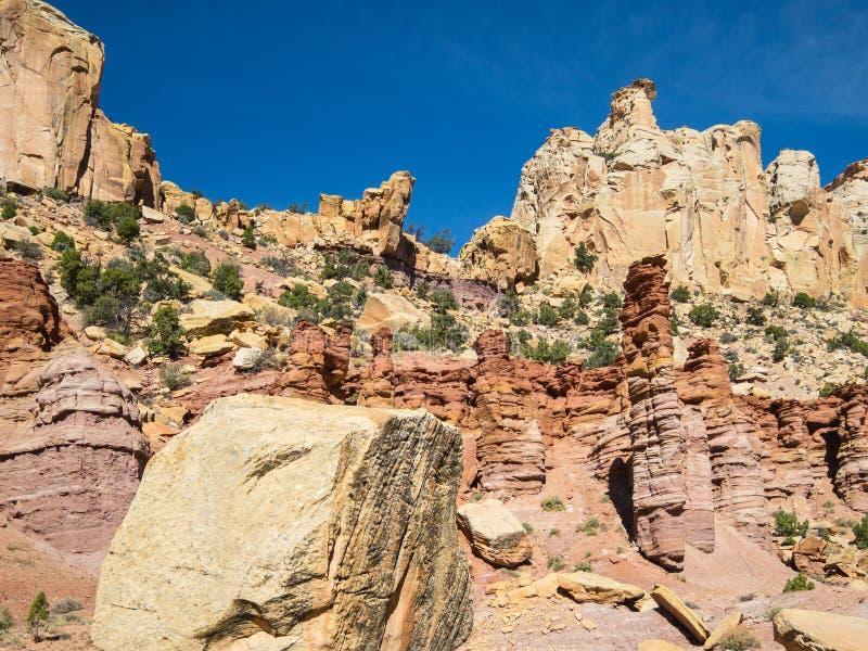 Waterpocketvouwen, Utah stock afbeelding