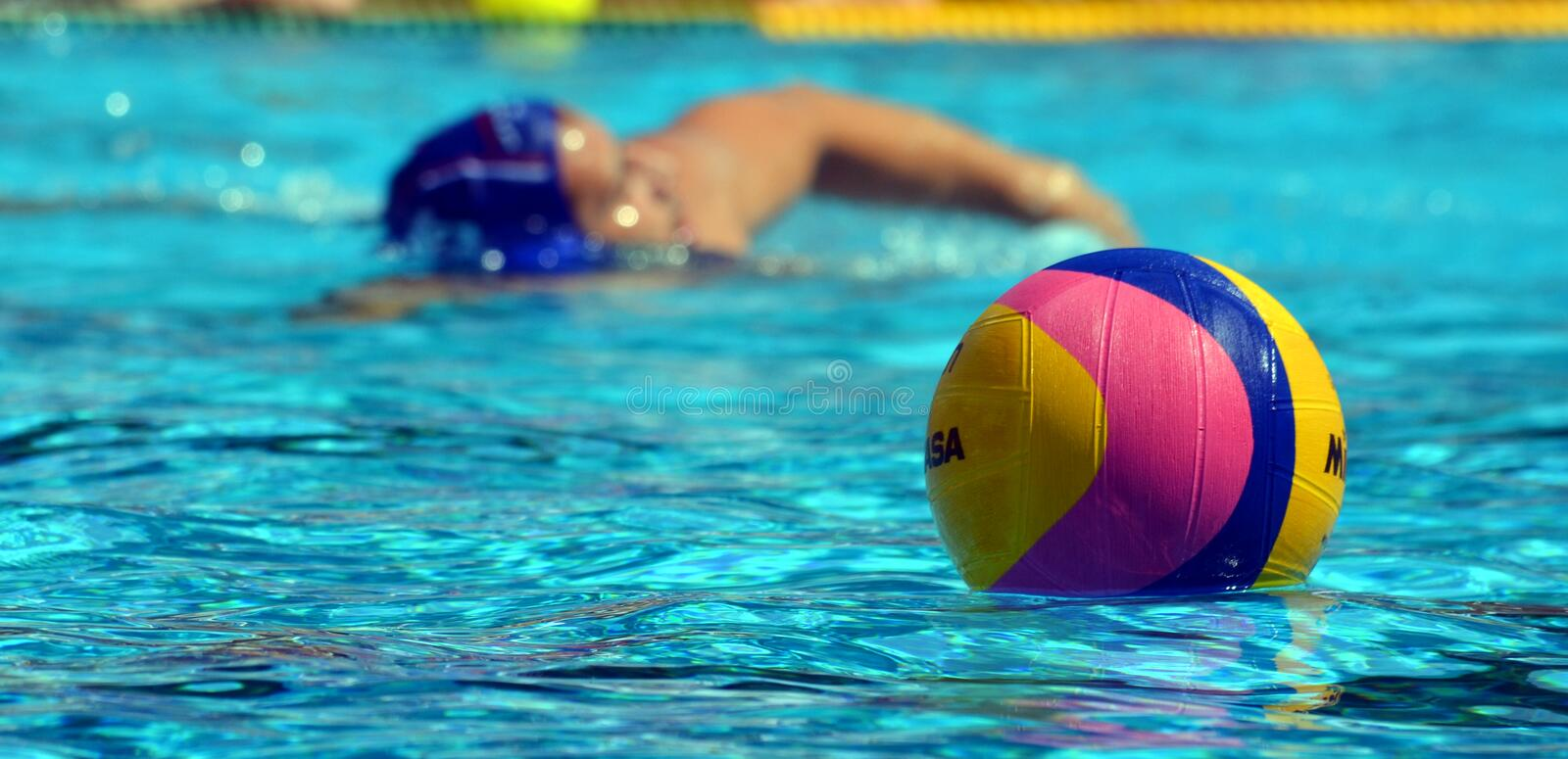 Waterpolo ball and player. Budapest, Hungary - Jul 14, 2014. Waterpolo ball and player. The Waterpolo European Championship was held in Alfred Hajos Swimming stock photos