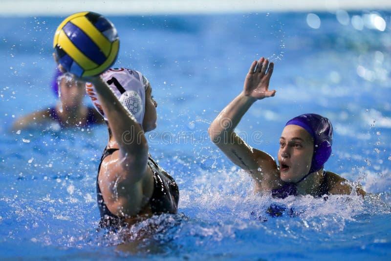 Waterpolo EuroLeague Women Championship Sis Roma vs Kinef Surgutneftegas Kirishi stock photography