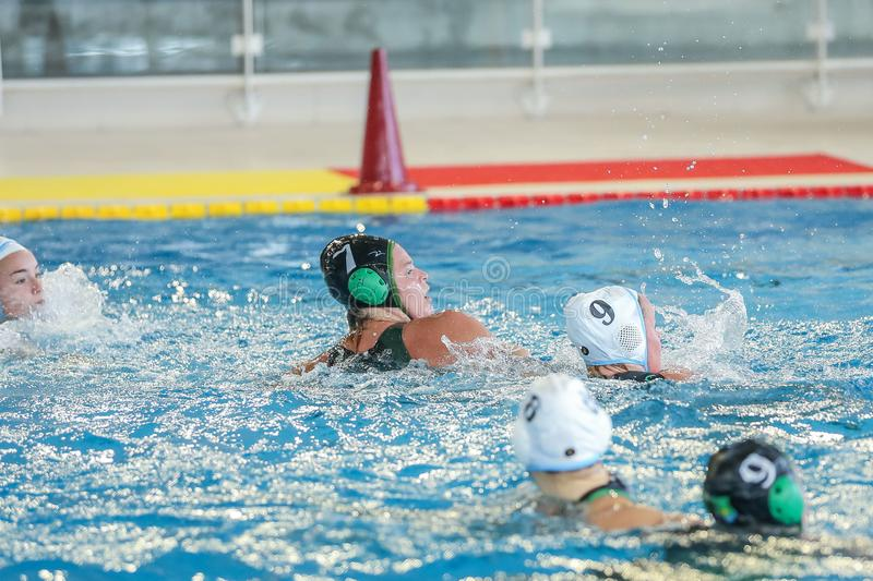 Waterpolo EuroLeague Women Championship ZV De Zaan vs Exile SG royaltyfri fotografi